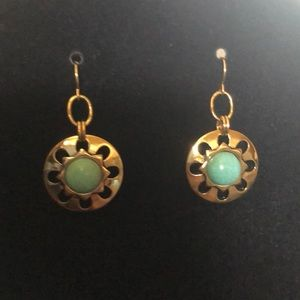 Gold designed earrings with turquoise inlay!